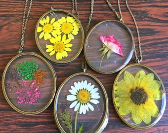 Preserved Botanical Specimens: Daisies, Rose, Sunflower & Queen Anne's Lace-  Large Oval Pendant Necklace, Bronze Chain