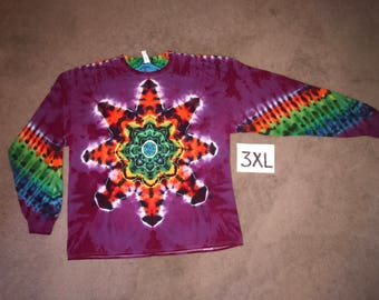 Tie Dye T-Shirt ~ Fire Mandala With Raspberry/Purple Background ~ i__8259 in Long Sleeve 3XL