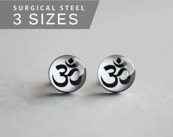 OM earring studs, Surgical steel posts, zen earring studs, white earring, mens earrings, gift for him, earrings for men