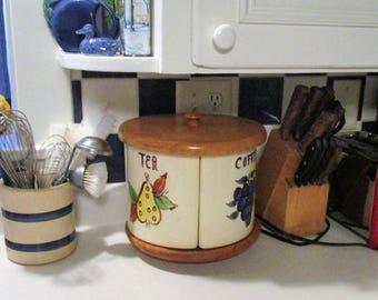 Vintage Canister Set Purinton Pottery Lazy Susan Coffee Flour Sugar Tea