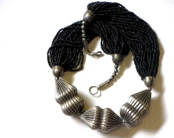 Black Multistrand Seed Bead and Silver Necklace Ribbed Metal and Glass Bohemian Festival Hippie Jewelry