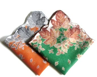 Scalloped Autumn Leaves Hankie Set Rusty Orange and Green Fall Fashion Accessories