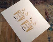 Two Owls Limited Edition Letterpress Postcard Print in antique gold and black on shimmery shiny white gold cardstock