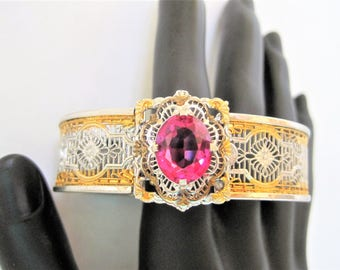 Art Deco Filigree Bangle, Pink Glass Cabochon, J.J. White Manufacturing, Pat.1933576, 1933 Bracelet