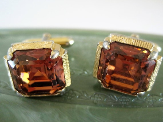 Swank Topaz Cuff Links - Gold Tone - Collectible 60's Mens - Gift for Father
