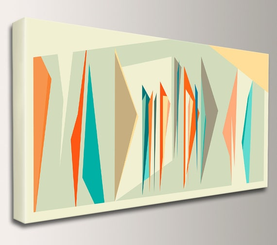 "Mid Century, Print, Midcentury Modern, Abstract Art, Canvas Decor - Geometric, Wall Art, Retro Home Decor  - ""Intermix"" Panorama"