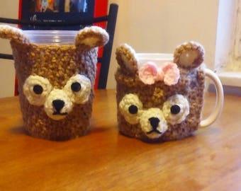 Brown Bear Cup Cozy, Mug Cozy
