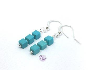Howlite Earrings, Cube Earrings, Blue Cube Earrings, Blue Cube Earrings, Tiny Square Earrings, Howlite Cube Earrings, Dainty Earrings