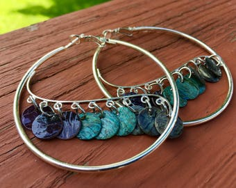 Sterling Silver Mussel Shell Hoop Earrings