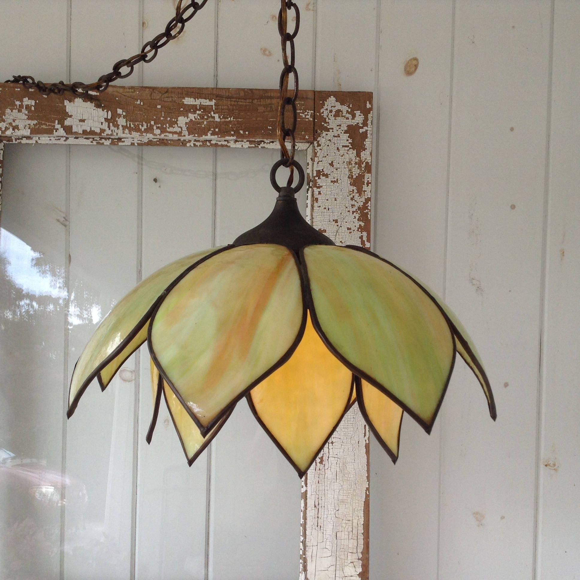 Vintage Double Tulip Lotus Flower Slag Glass Hanging Lamp Swag Light