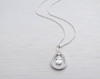 Sterling Silver & Cubic Zirconia Drop Necklace