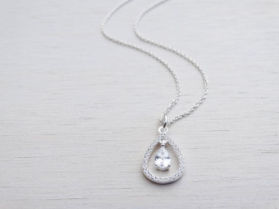 Sterling Silver & Cubic Zirconia Drop Necklace