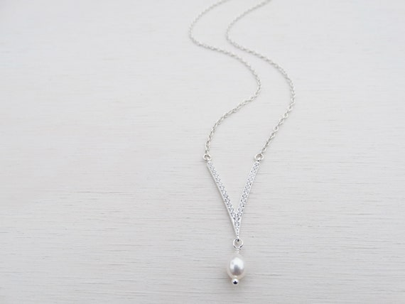 Silver V Necklace With Cubic Zirconia & Pearl, Sterling Silver