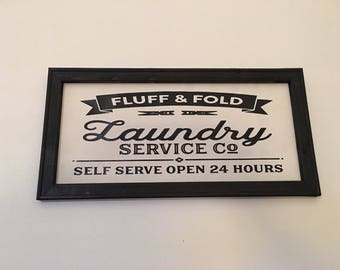 Fluff and Fold Laundry Farmhouse Reverse Canvas Print