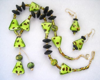 Art Glass & Stone Pendant Necklace and Earring Set. Modernist Accents. Playful Artsy Set. Bright Greens to Black with Gold Touches.