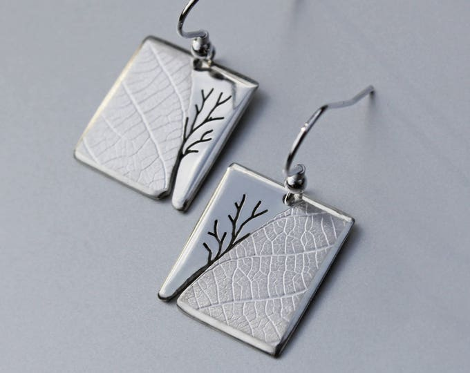 Tree Leaf Earrings, Handmade Sterling Silver Jewelry, Silver Jewellery, Silver Earrings, Earrings.