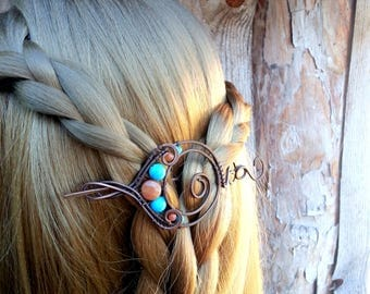Wire Wrapped Copper Shawl Pin Copper Wire Shawl Pin - Scarf Sweater Pin - Spiral Brooch - Orange turquoise hair pin - hair slide - hair clip
