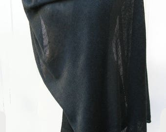 Dark teal 50/50 Silk Linen Big Scarf Wrap