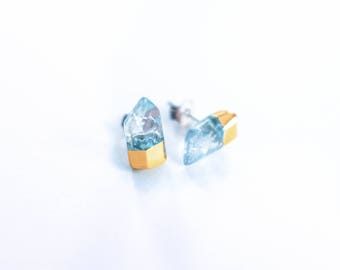 Gold Dipped Aqua Quartz Points