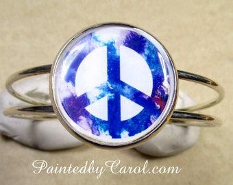 Peace Bracelet, Peace Symbol Jewelry, Peace Cuff, Peace Jewelry, Hippie Bracelet, Hippie Jewelry, Hippie Cuff, Hippie Gifts, Peace Gifts