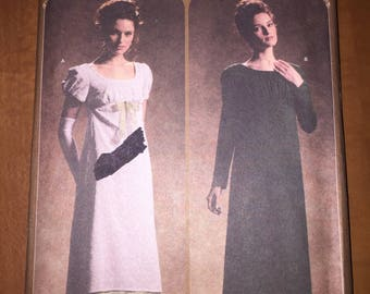 Simplicity Sewing Pattern 4055 Uncut Misses Regency Era Empire Gown Size 6-12