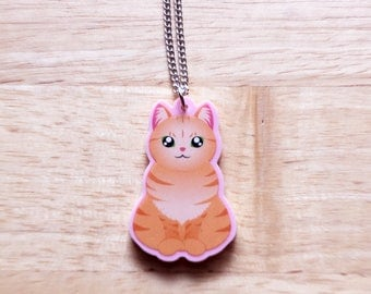 Orange Tabby Cat Necklace