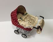 DOLLS HOUSE 112th scale modern dolls house pramstrollerbuggy in burgundy and cream