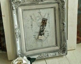 Ornately Framed Magnetic Board w/Script and Chandelier Image, Hand Painted Frame, Fleur-de-lis Magnet