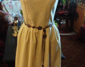 Vintage Yellow and White Lace Sleeveless Dress
