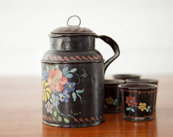 Antique Tole / Toleware Canister Tea Caddy w/ Lid and Five Cups with Hand Painted Flowers - Set of 6