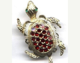15% OFF SALE Vintage Goldtone Turtle with Red Rhinestone Back  Item: 10772