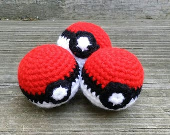 Pokeball Pokemon Inspired Crochet Catnip Cat Toy Gift SET OF THREE