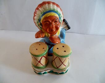 Vintage Native American Chief with Drums Salt & Pepper Set in Great Condition