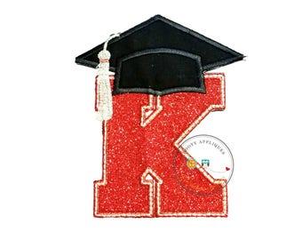 Red glitter graduation inital letter K iron on applique, embroidered graduation letter K in red and silver fabric, graduation iron on patch