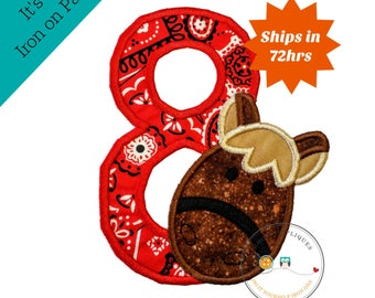 Red bandanna birthday number 8, brown horse, barn yard animal, farm animal, iron on, fabirc, applique, patches, personalize, ready to ship