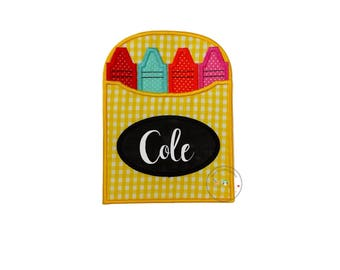 Yellow gingham crayon box iron on applique, personalizable crayon box for school no sew patch, bright multi-color back to school patch