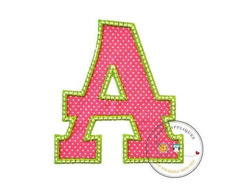 ON SALE NOW Large initial letter pink and green A with bird - iron embroidered fabric applique patch embellishment- ready to ship