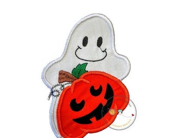 ON SALE NOW Large hallowee ghost with pumpkin - iron embroidered fabric applique patch embellishment- ready to ship