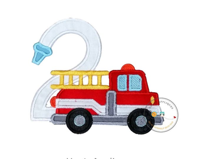 Fire truck birthday number 2 iron on patch, Second birthday fireman embroidered applique, Fire hose birthday number two