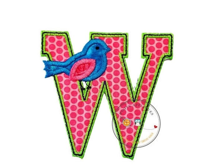 ON SALE NOW Letter w with song bird and black/green trim - iron embroidered fabric applique patch embellishment- ready to ship