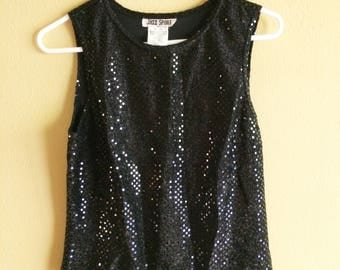 Black Sequin 90s Tank Top // vintage