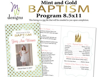 Gold, Mint, & Coral - LDS Baptism Program - Digital File