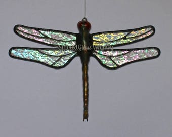 Stained Glass DRAGONFLY Suncatcher, Stardust Clear Iridescent Wings & Handcast Metal Body, USA Handmade Original, Iridescent Dragonfly