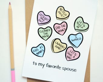 Married Candy Hearts Greeting Card | Blank 5x7 | Funny Valentine | Marriage Humor
