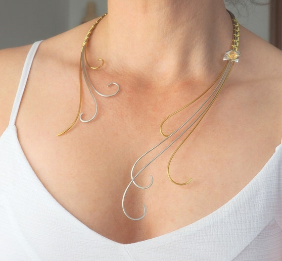 Artistic necklace Statement Wire wrapped jewelry silver gold colar wedding bridal handmade wire woven Anniversary gift for women