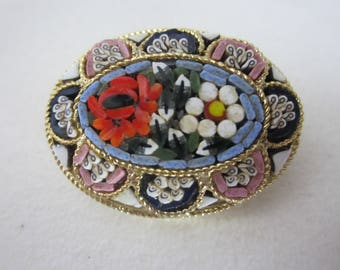 Vintage Micro Mosaic Tile Floral Brooch - Multi-Color Flowers - Made in Italy - Gold Tone Pin - Womens Vintage Accessory