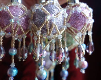 Set of 6 Crystal Victorian Style Beaded Christmas Baubles - Soft pastels and rainbow pearls