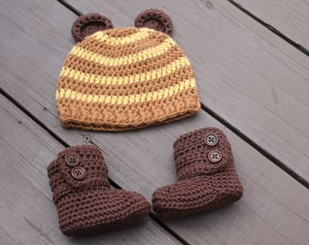 Newborn Baby Boy, Crochet Hat and Booties, Take Me Home Baby Boy Clothes, Bear Hat