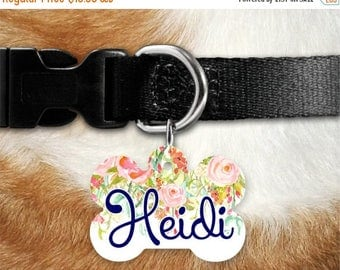 SALE Personalized Dog Tag ~ Custom Floral Pet ID Tag ~ Floral Dog Tag ~ Floral Cat Tag ~ Floral Pet Collar ~ Custom Dog Tag ~  Custom Cat ID