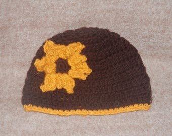 Brown Beanie Style Hat with Sunflower for Fall Baby Toddler Children Teen Assorted Sizes Handmade Crochet Photo Prop